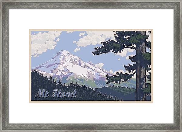Retro Mount Hood Framed Print