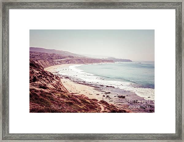 Retro Photo Of Laguna Beach California Framed Print by Paul Velgos