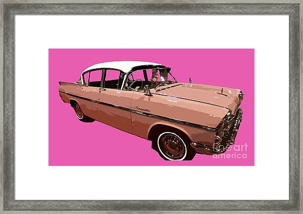 Retro Pink Car Art Framed Print