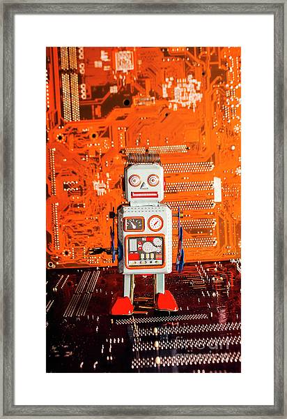 Retro Robotic Nostalgia Framed Print