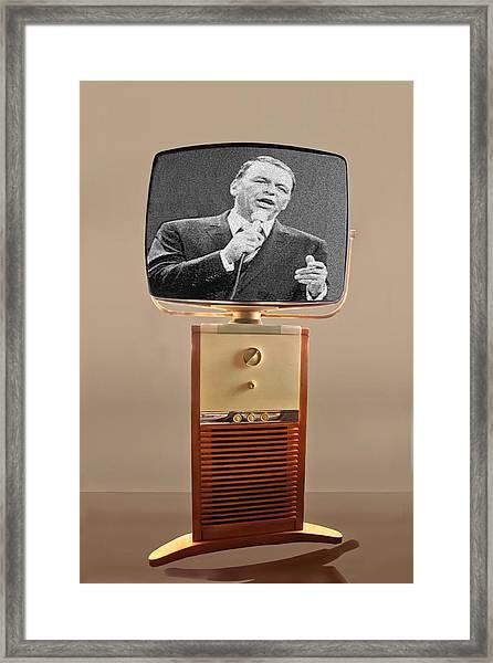 Retro Sinatra On Tv Framed Print