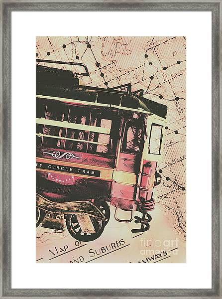 Retro Streets And Urban Trams Framed Print