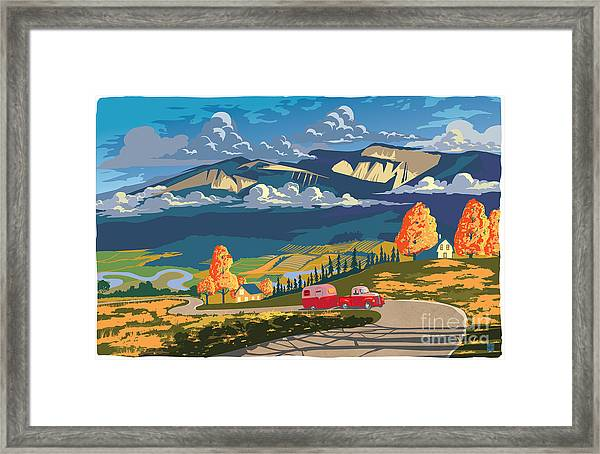 Retro Travel Autumn Landscape Framed Print
