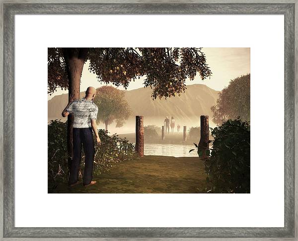 Returning To The Bridge That Burned Framed Print