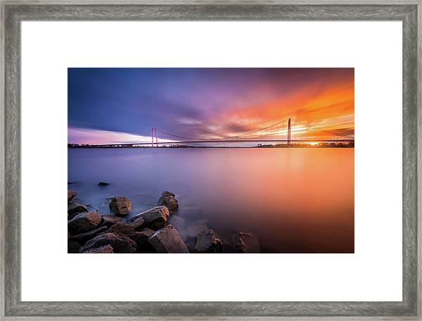 Rhine Bridge Sunset Framed Print
