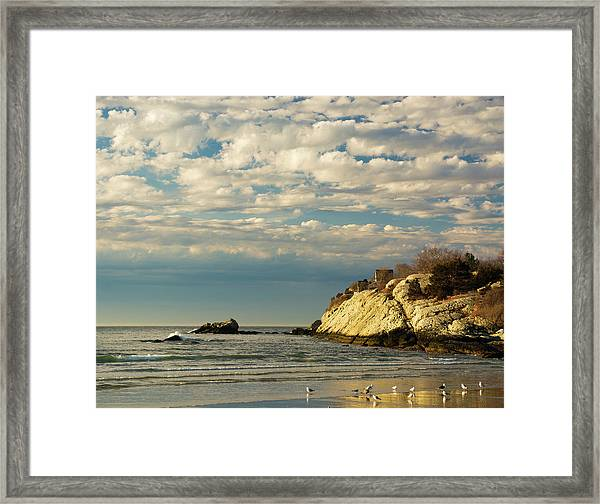 Rhode Island Beach In Winter Framed Print