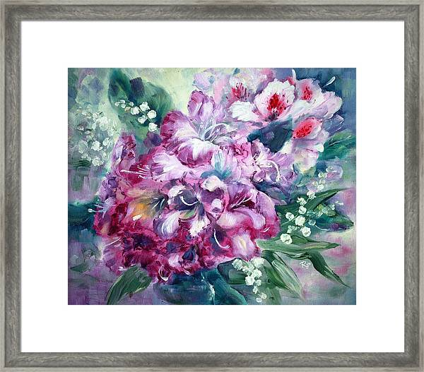 Rhododendron And Lily Of The Valley Framed Print
