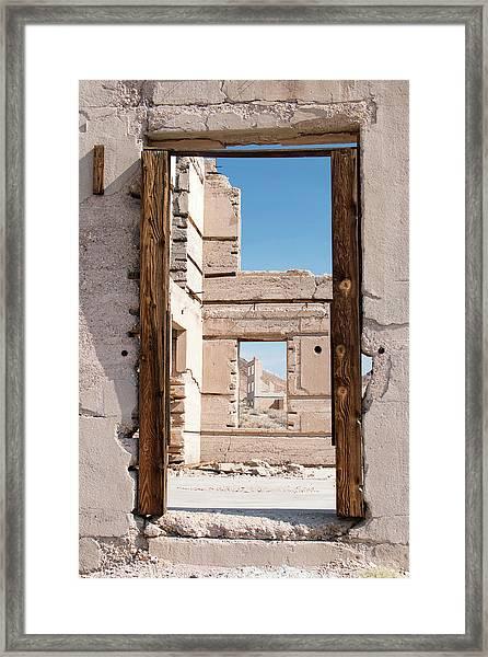 Rhyolite Through Windows Framed Print