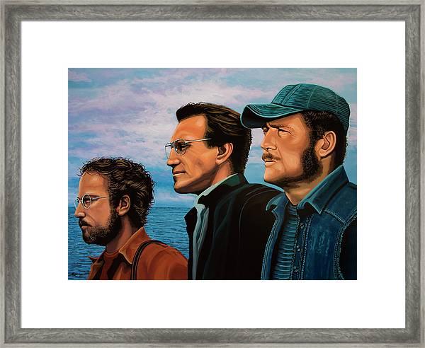 Jaws With Richard Dreyfuss, Roy Scheider And Robert Shaw Framed Print
