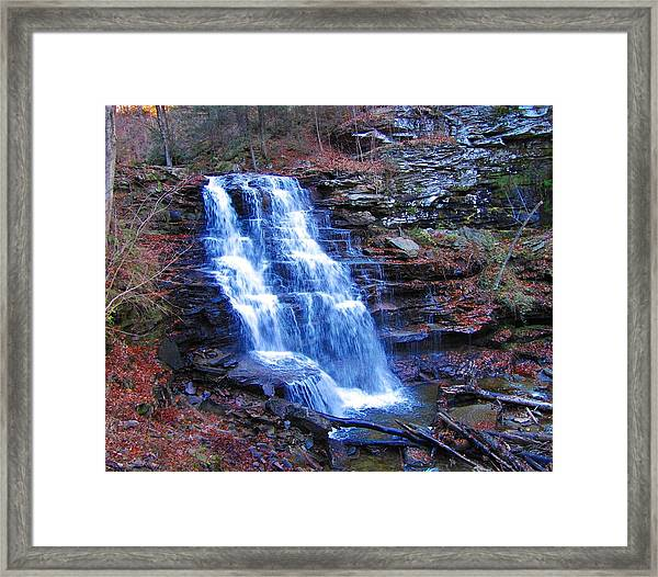 Framed Print featuring the photograph Ricketts Glen Waterfall 3941  by David Dehner