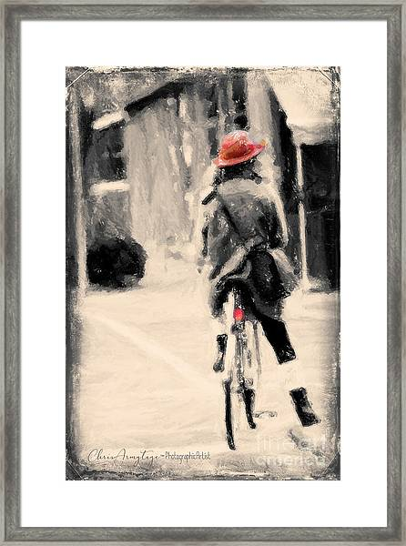 Riding My Bicycle In A Red Hat Framed Print