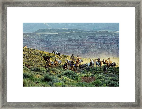 Riding Out Of The Sunrise Framed Print