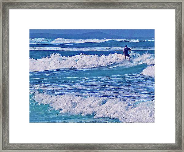 Riding The Outside Break Framed Print
