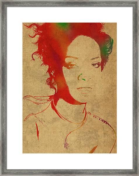 Rihanna Watercolor Portrait Framed Print