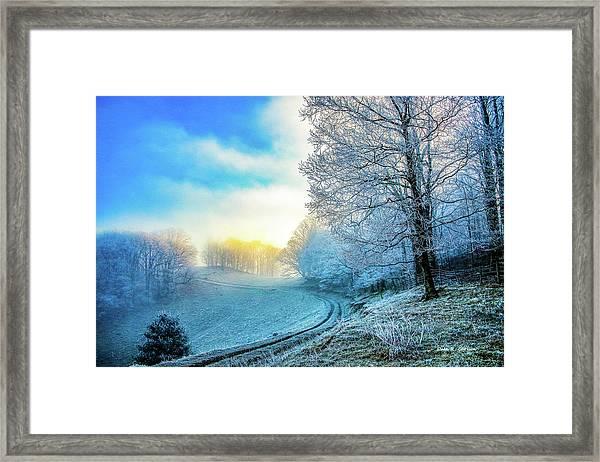 Rime Ice Sunrise Framed Print