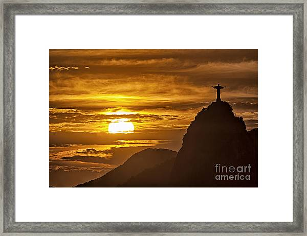 Framed Print featuring the photograph Rio De Janeiro Christ Statue by Juergen Held