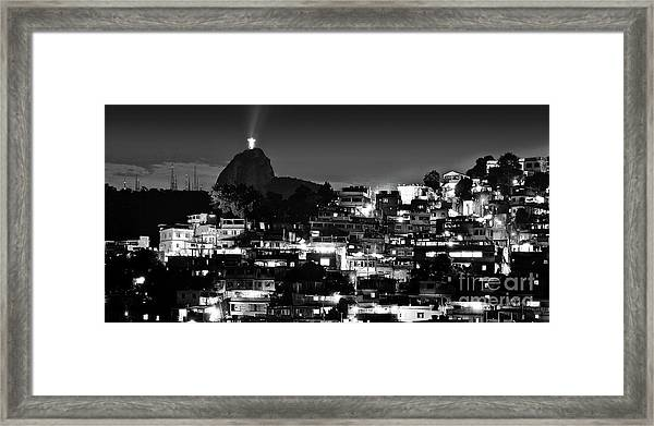 Rio De Janeiro - Christ The Redeemer On Corcovado, Mountains And Slums Framed Print