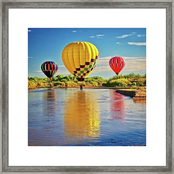 Rio Grande Balloon Reflection, Albuquerque, Nm Framed Print
