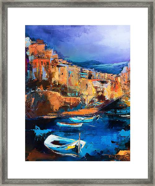 Framed Print featuring the painting Riomaggiore - Cinque Terre by Elise Palmigiani