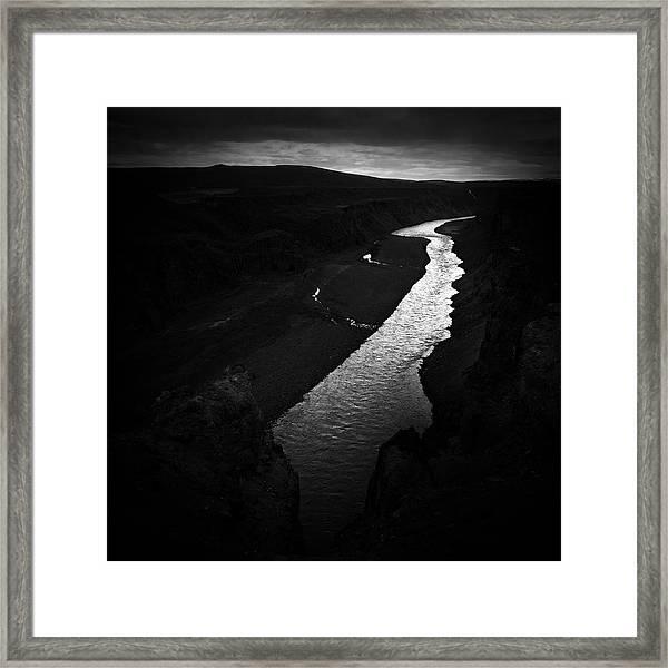 River In The Dark In Iceland Framed Print