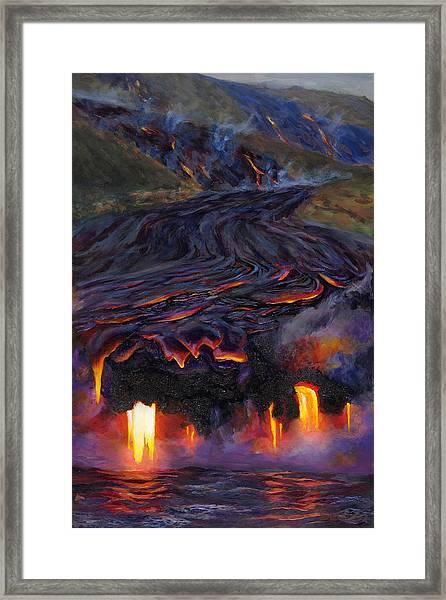 River Of Fire - Kilauea Volcano Eruption Lava Flow Hawaii Contemporary Landscape Decor Framed Print