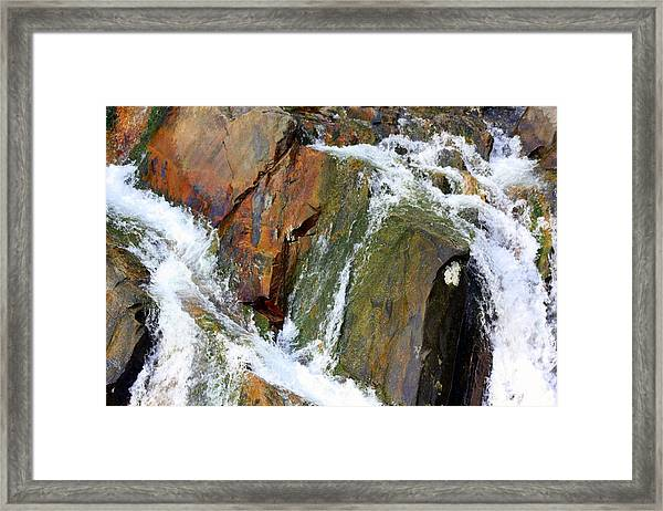 River Power Dashed Upon The Rocks Framed Print