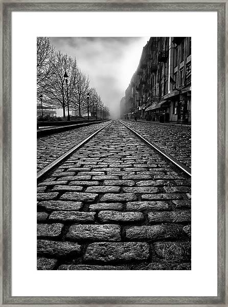 River Street Railway - Black And White Framed Print