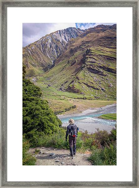 River Valley Overlook New Zealand Framed Print