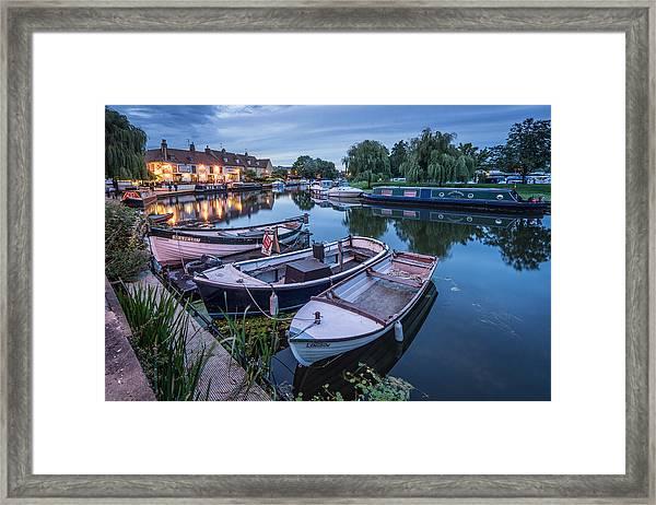 Riverside By Night Framed Print