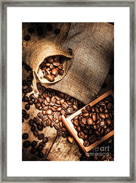 Roasted Coffee Beans In Drawer And Bags On Table Framed Print