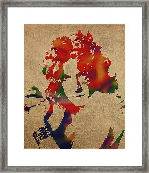 Robert Plant Led Zeppelin Watercolor Portrait Framed Print