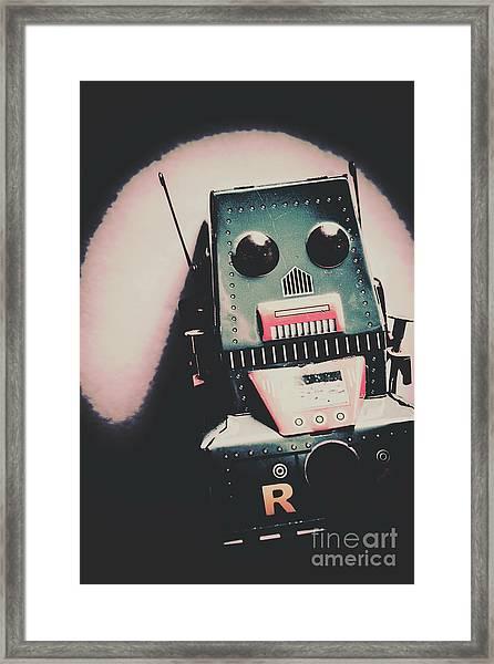 Robotic Mech Under Vintage Spotlight Framed Print