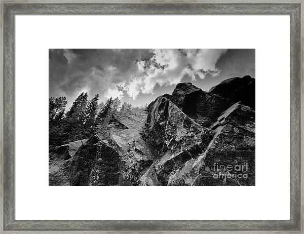 Rock #9542 Bw Version Framed Print