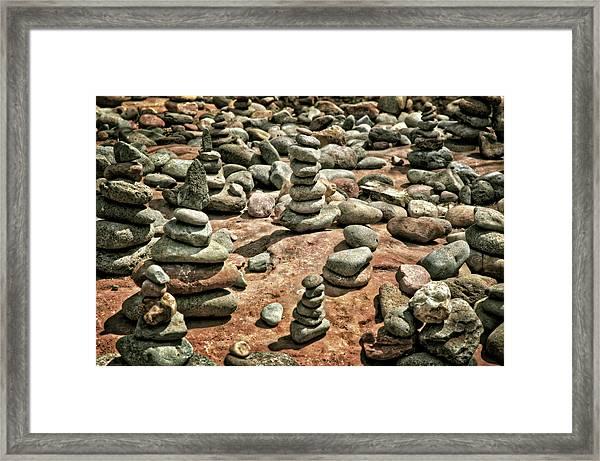 Rock Cairns At Buddha Beach - Sedona Framed Print