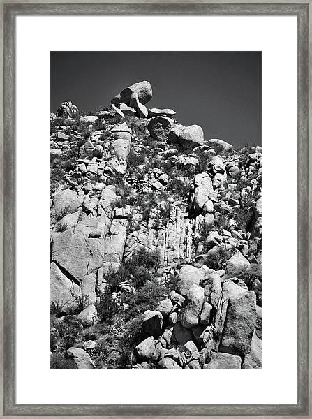 Rock Face Sandia Mountain Framed Print