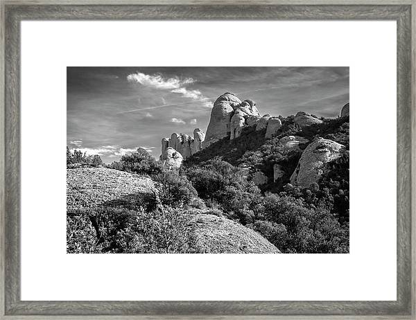 Rock Formations Montserrat Spain II Bw Framed Print