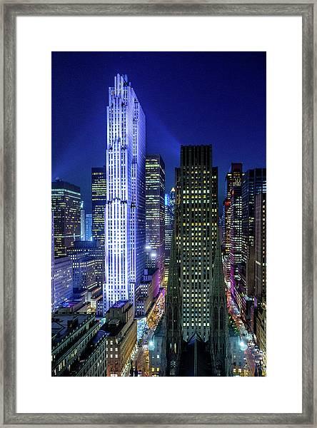 Rockefeller At Night Framed Print