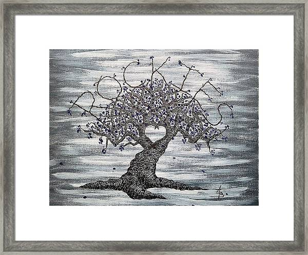 Framed Print featuring the drawing Rockies Love Tree by Aaron Bombalicki