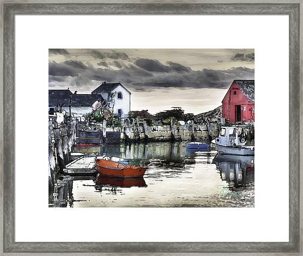 Rockport Harbor Early Morning Framed Print