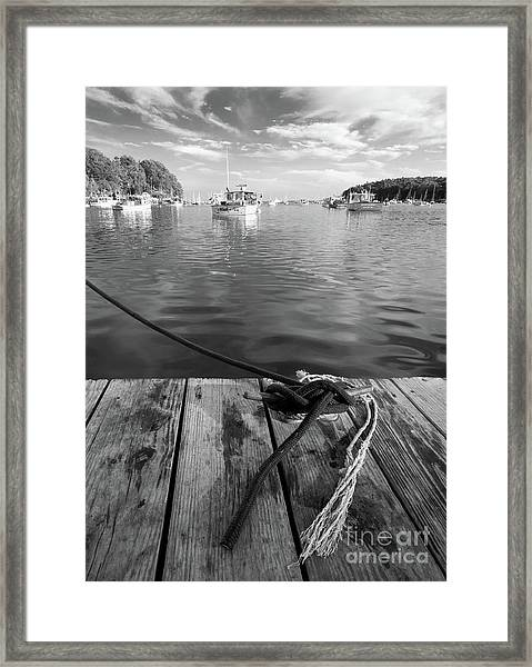 Rockport Harbor, Maine #80458-bw Framed Print