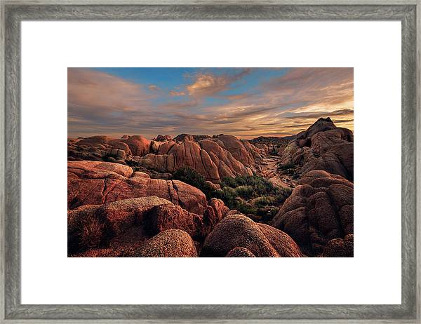 Rocks At Sunrise Framed Print