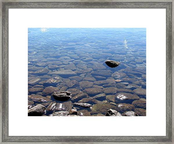 Rocks In Calm Waters Framed Print