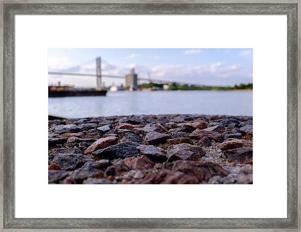 Rocks River And A Bridge In Savannah Georgia Framed Print