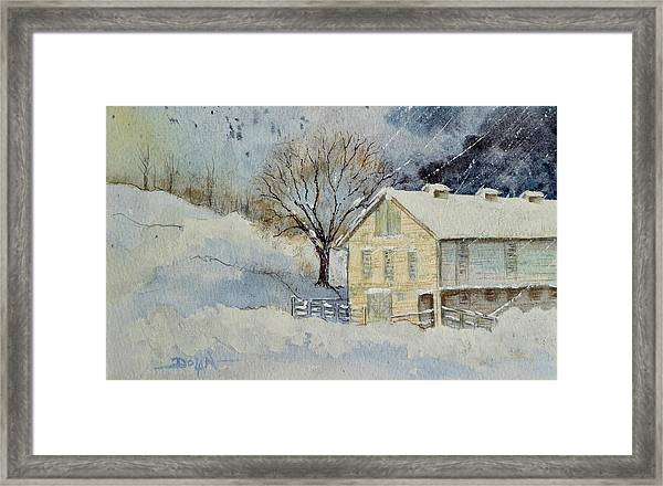 Rockville Farm In Snowstorm Framed Print
