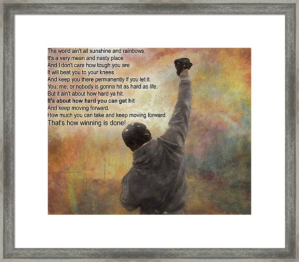Rocky Balboa Inspirational Quote Framed Print