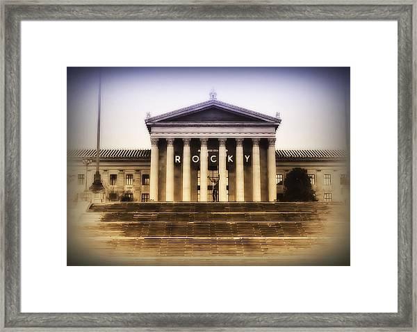 Rocky On The Art Museum Steps Framed Print
