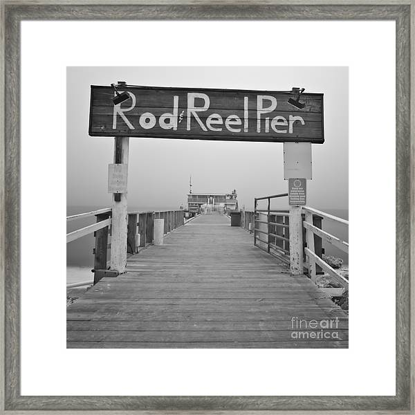 Rod And Reel Pier In Fog In Infrared 53 Framed Print