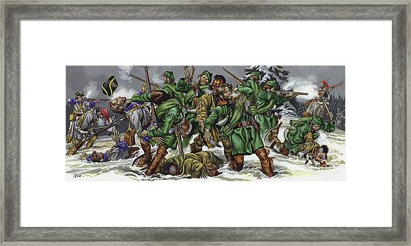 Rogers Rangers Fought A Hand-to-hand Battle In The Snow With The French And Indians Framed Print