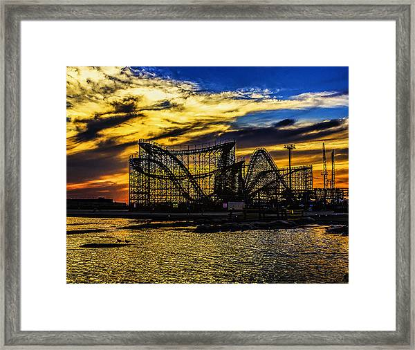 Roller Coaster Sunset Framed Print