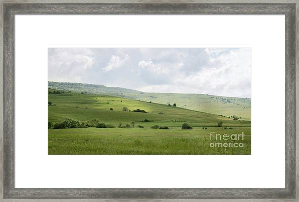 Rolling Landscape, Romania Framed Print